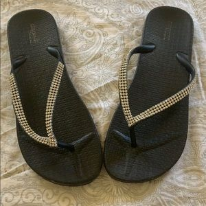 Shoes - Rhinestone Black Flip Flops
